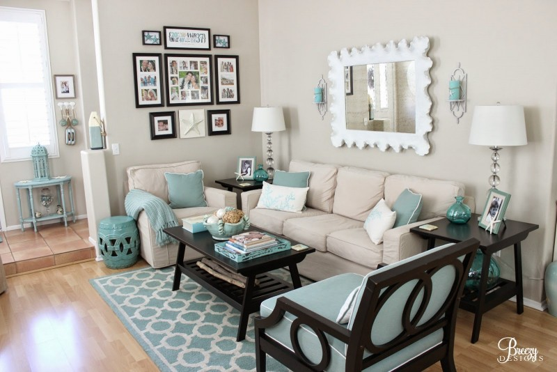 Coastal Cottage Decorating Ideas, Neutral Sectional, Aqua Room Accents, Living Room