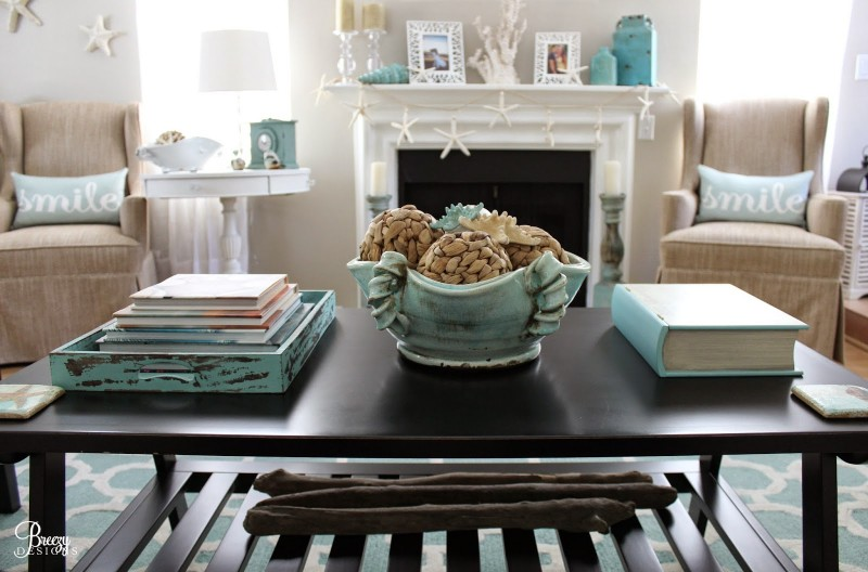 Coastal Cottage Decorating Ideas, Coffee Table, Fireplace