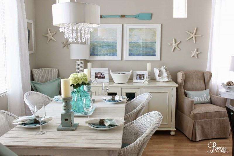 Coastal Cottage Dining Room Decor -Decorating Ideas, Oars, Wall Art, Beach Scene