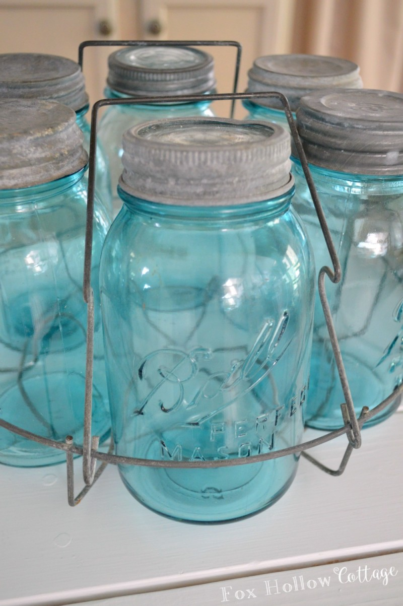 Vintage Aqua Blue Ball Mason Jars - foxhollowcottage.com