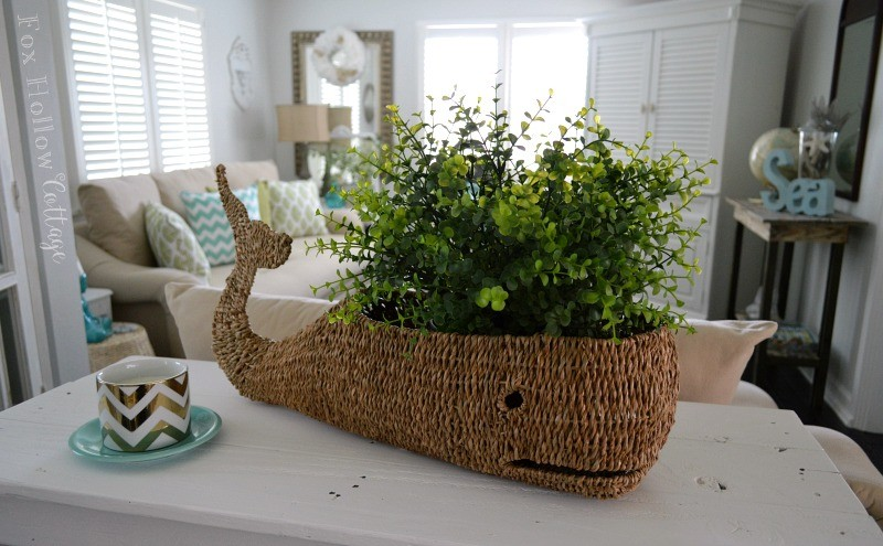 wicker whale basket beach chic coastal summer decorating