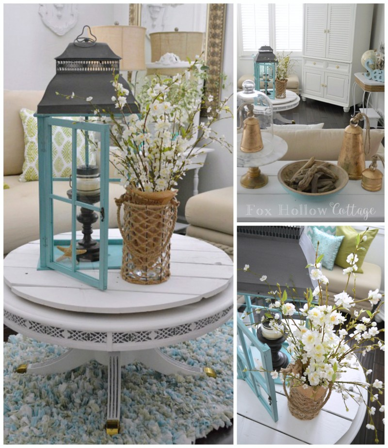 Large Aqua Lantern from @homegoods - add a candlestick, candle and starfish to fill it, simply