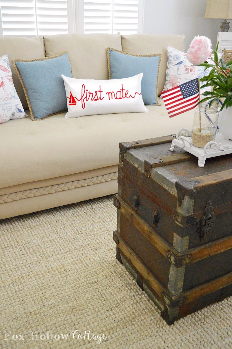 Red First Mate Pillow - Coastal Cottage Home Decor - foxhollowcottage