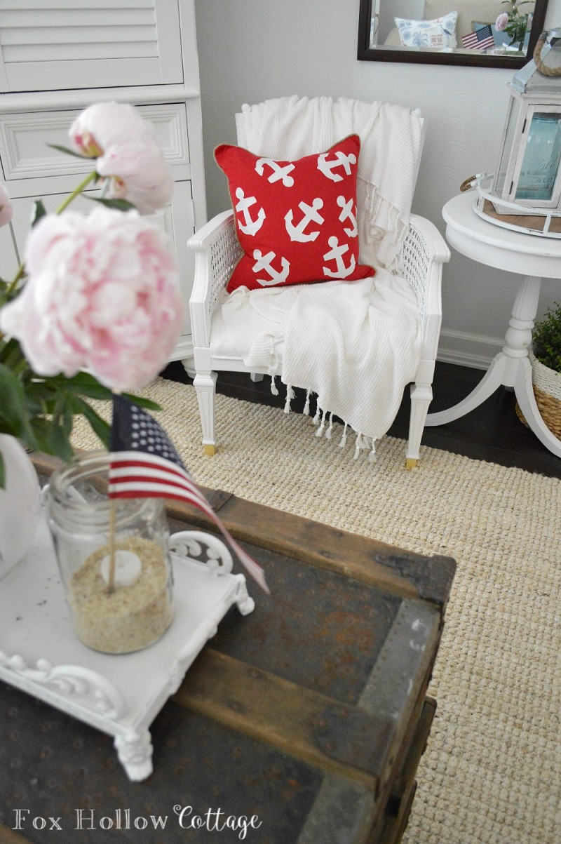 Red and White Anchor Pillow foxhollowcottage