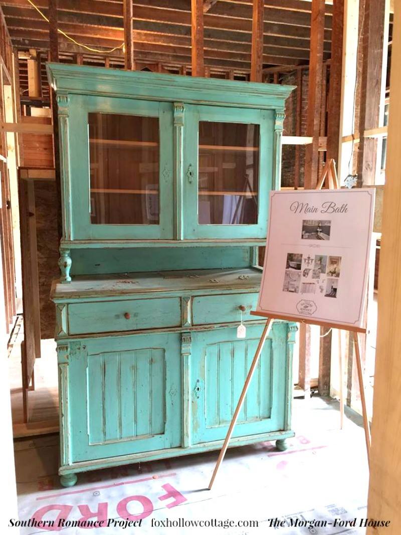 Southern Romance Project - The Morgan Ford House in Mobile Alabama - Vintage Aqua Cabinet Cupboard Furniture - foxhollowcotttage.com