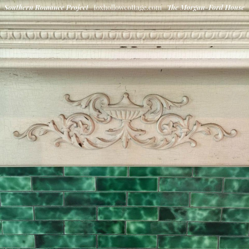 Southern Romance Project - The Morgan Ford House in Mobile Alabama - Vintage Arts and Crafts Fireplace Tile and Relief Detail - foxhollowcotttage.com