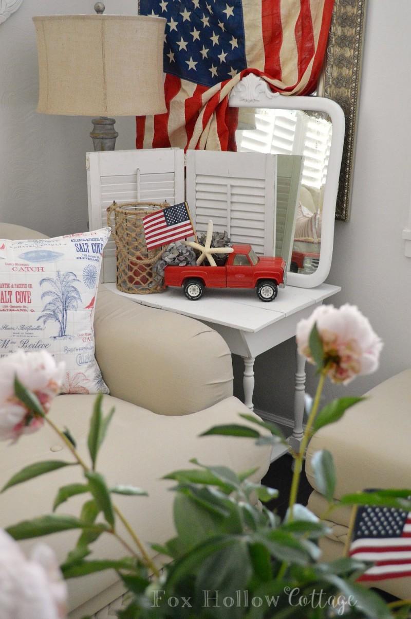 Vintage Ford Toy Truck Patriotic Coastal Home Decorating