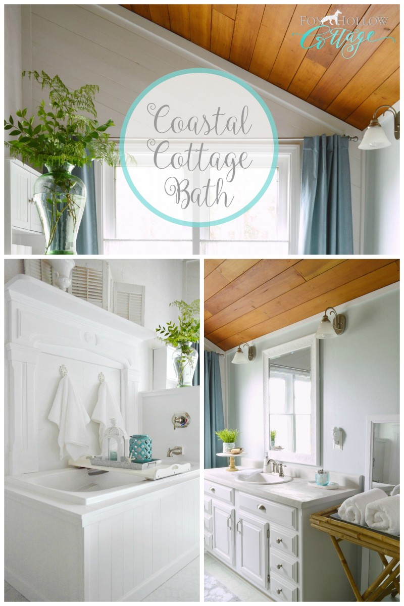 Coastal Cottage Bathroom Makeover at foxhollowcottage.com -