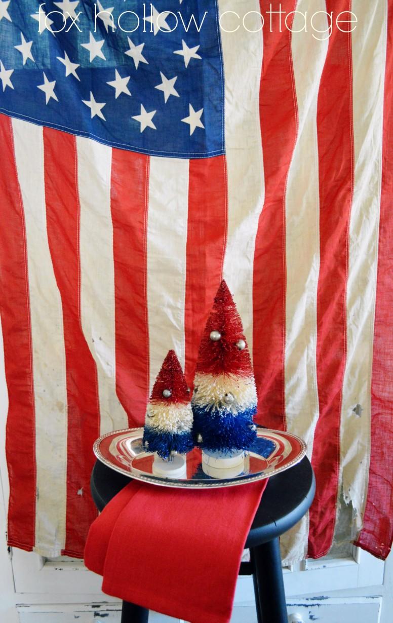 Vintage Americana USA Flag Red White Blue Tree Decor