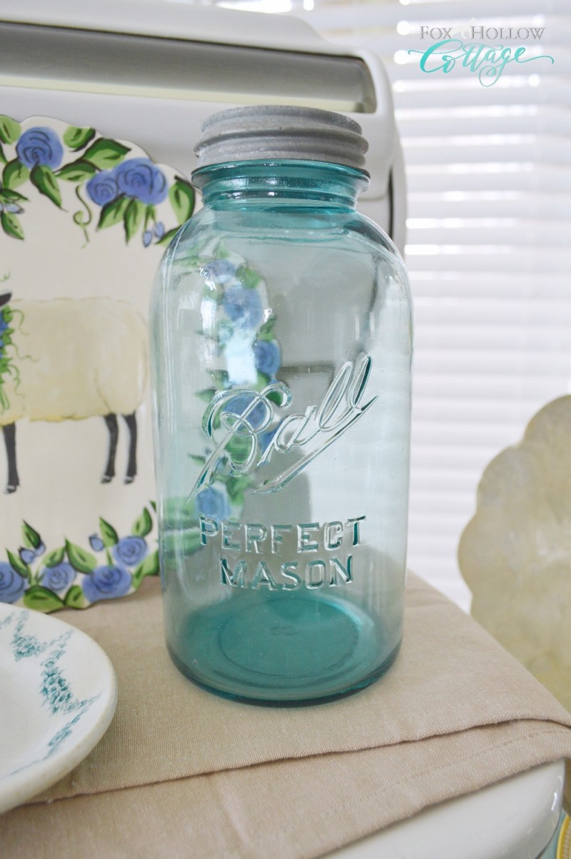 Vintage Aqua Ball Mason Jar with Zinc Lid - foxhollowcottage