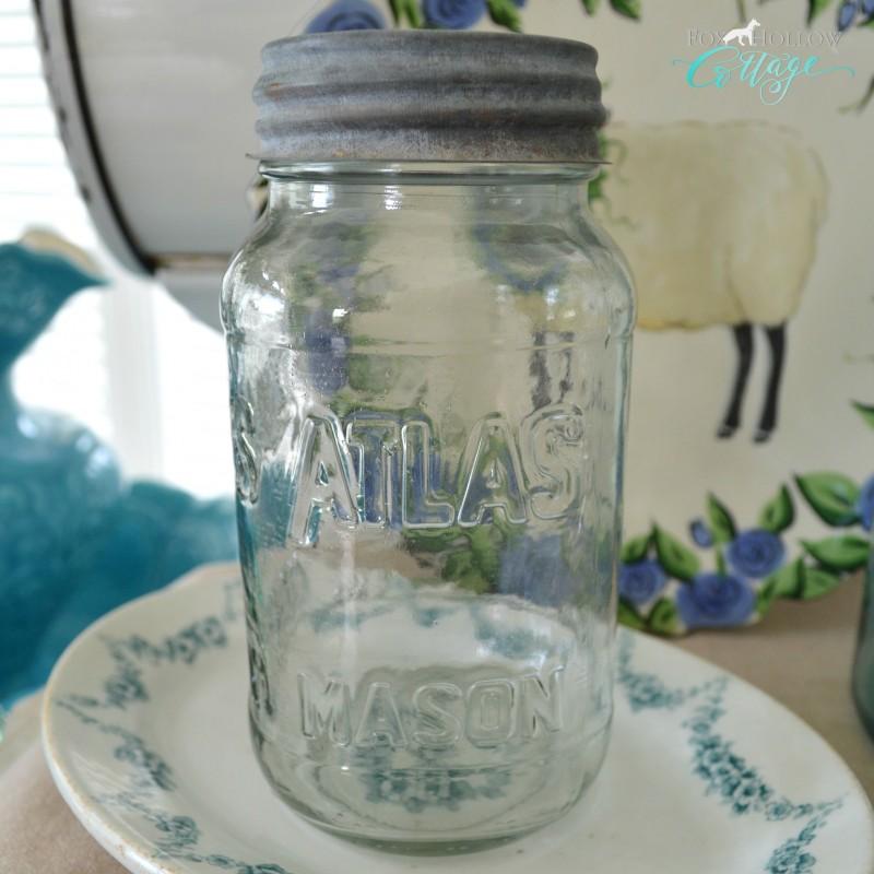 Vintage Atlas Mason Jar