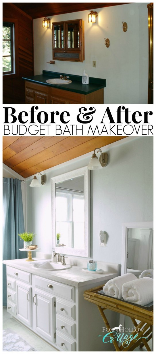 How to makeover a bathroom without remodeling Cheap bathroom remodel before and after