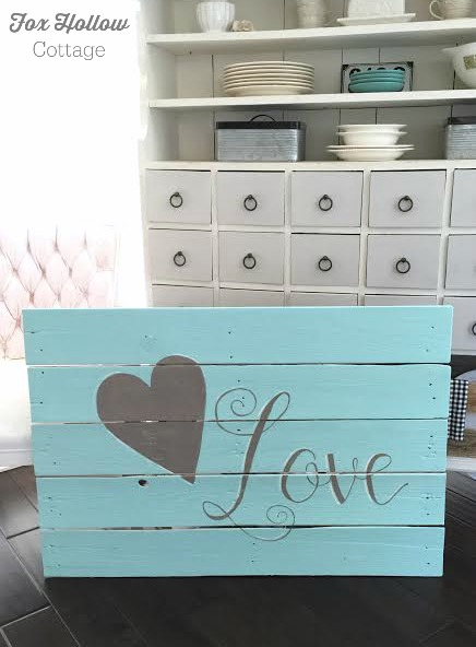 foxhollowcottage.com free hand painted pallet wood wall art sign aqua love