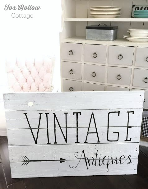 foxhollowcottage.com free hand painted pallet wood wall art sign vintage antiques arrow