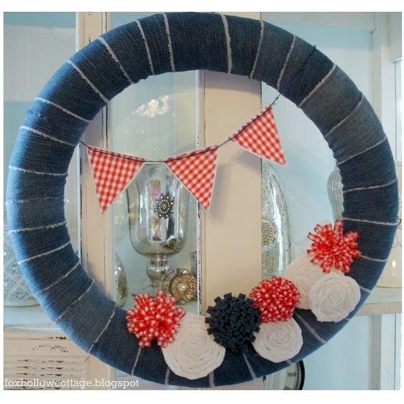 patriotic fourth of july summer red white blue denim repurposed pool noodle wreath door decor craft