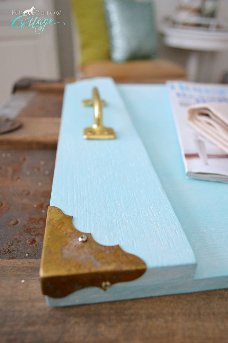 Brass corner details make this simple wood DIY serving tray special.