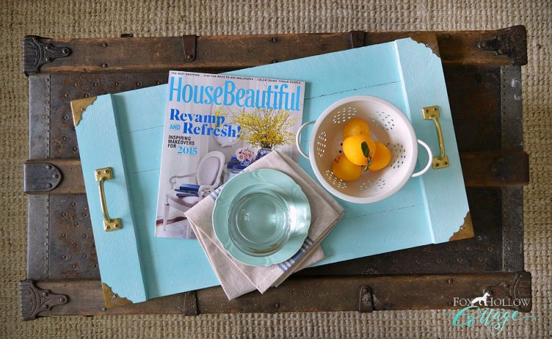 DIY Aqua White Washed Wood Serving Tray foxhollowcottage