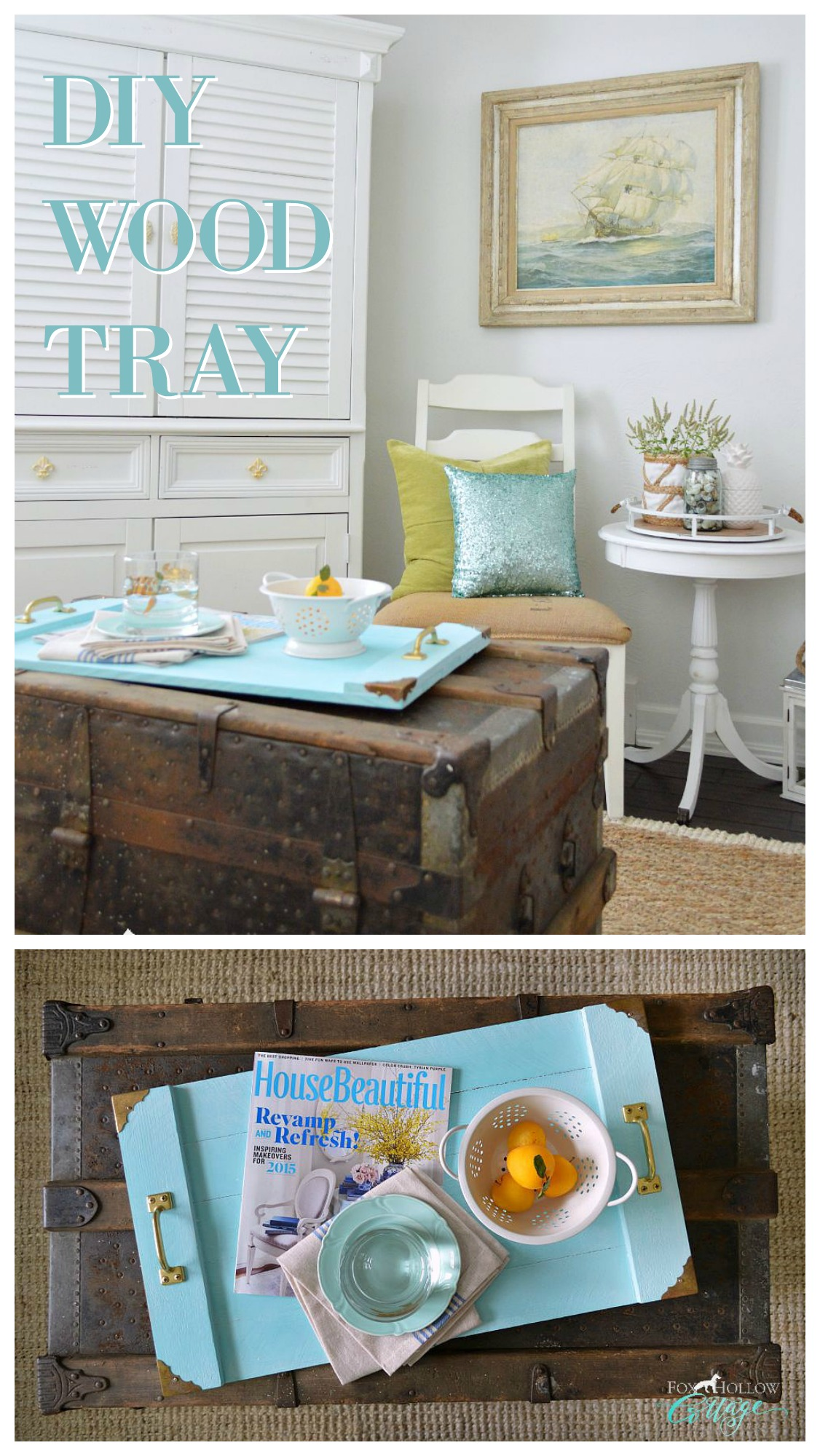 simple serving tray a coastal home decor diy fox hollow cottage