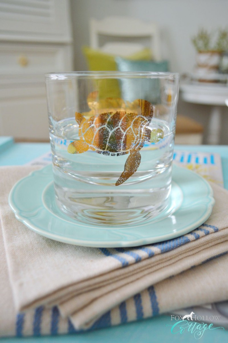 HomeGoods Honu Gold Sea Turtle Barware Drinking Glass Home Decor