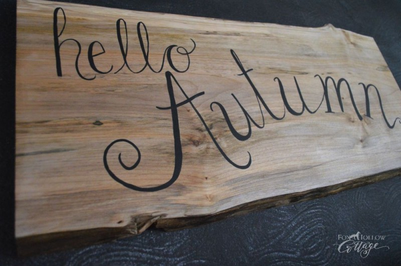 "Live edge wood slab ""Hello Autumn"" DIY fall home decor sign foxhollowcottage"