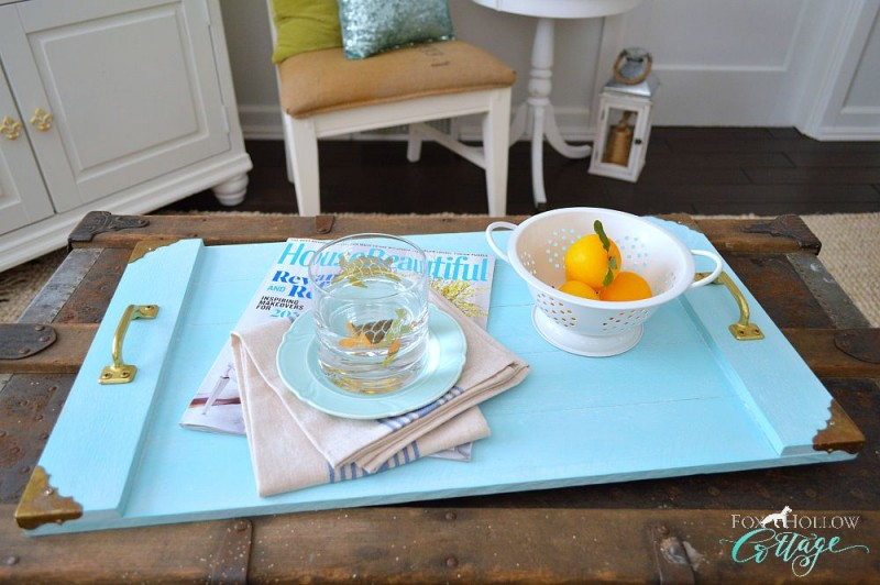 Find affordable ideas on how to decorate your home at Fox Hollow Cottage blog with projects like this DIY Wood Serving Tray - Free tutorial at www.foxhollowcottage.com - #follow for Home Decor & Decorating Ideas #diy #homedecor #cottagestyle #homedecorideas #homedecorinspo #pinit