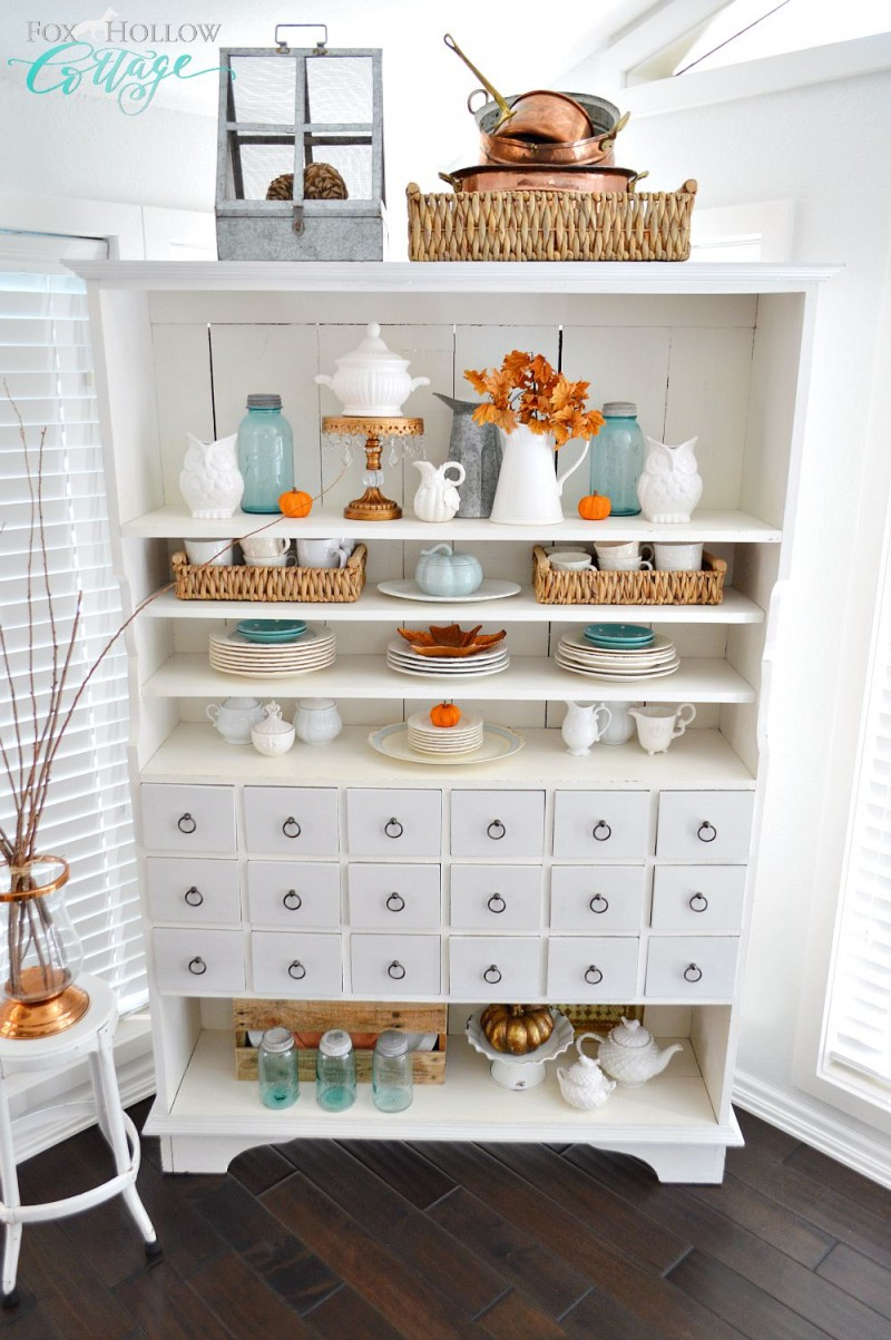 Autumn Apothecary Open Cabinet Shelf Decorating Ideas