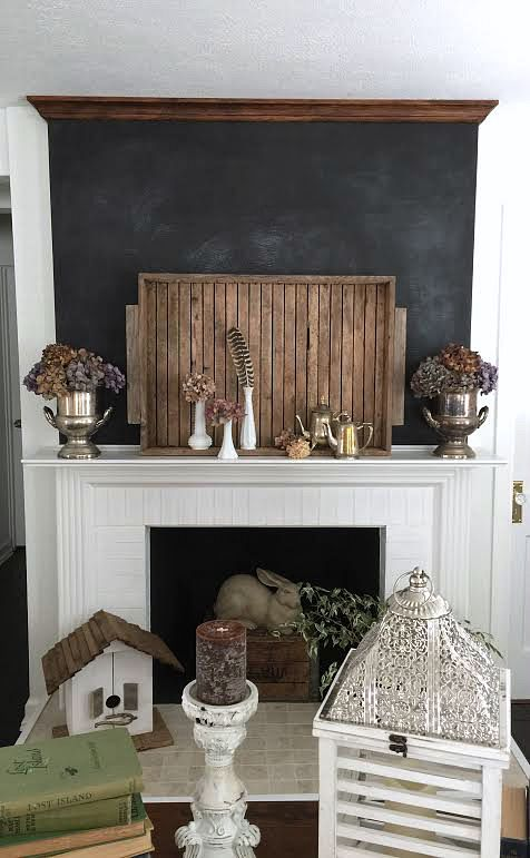DIY Fireplace refresh with crown molding - Dark brown wax on raw virgin wood - foxhollowcottage.com