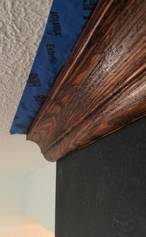DIY Fireplace refresh with crown molding - Maison Blanche Dark Brown wax on raw virgin wood - foxhollowcottage.com