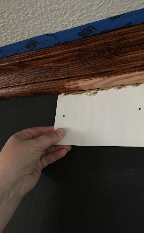 Wax instead of traditional stain - Fireplace refresh with crown molding - Dark brown wax on raw virgin wood - foxhollowcottage.com