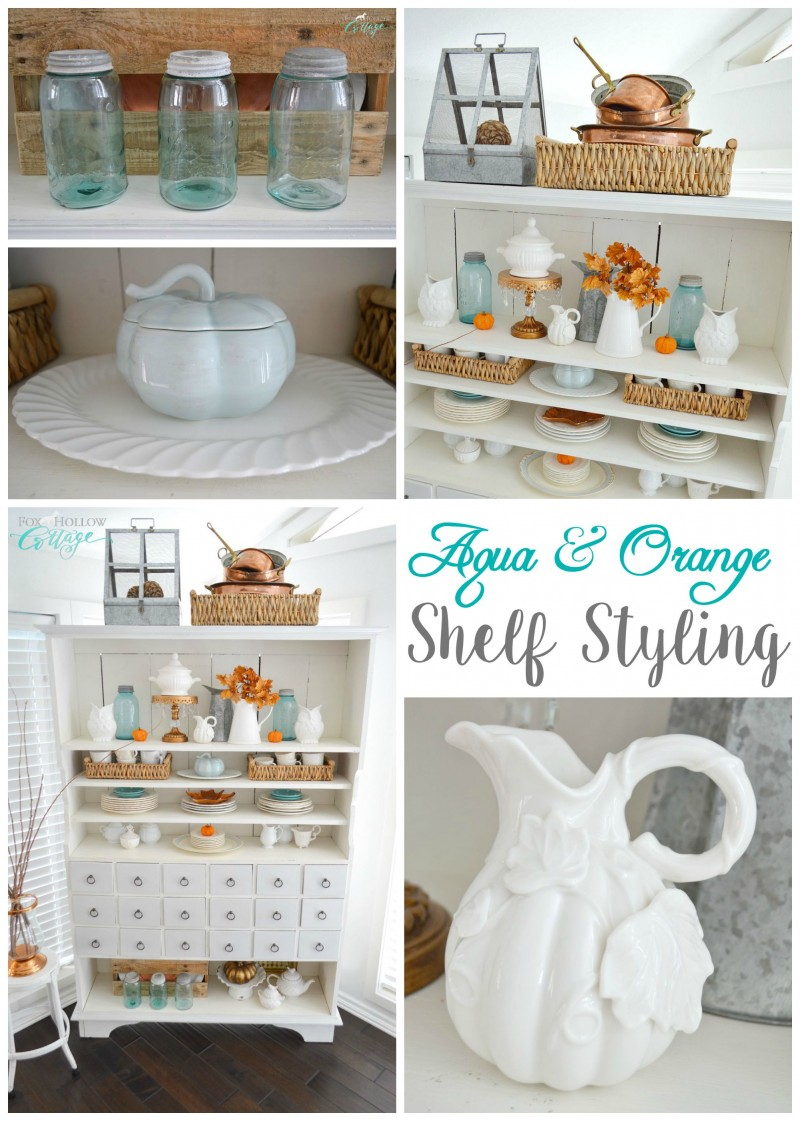 Aqua and Orange shelf styling - Apothecary open cabinet home decor decorating - Autumn fall at foxhollowcottage.com
