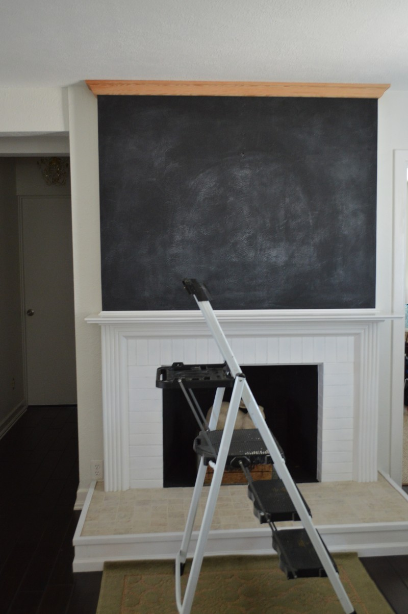 Fireplace makeover, crown molding install - Wax versus traditional stain - Fireplace refresh with crown molding - Dark brown wax on raw virgin wood - foxhollowcottage.com
