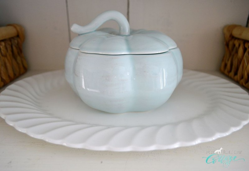 Fox Hollow Cottage Autumn Apothecary - Fall home decor @homegoods pale aqua blue ceramic pumpkin - foxhollowcottage.com