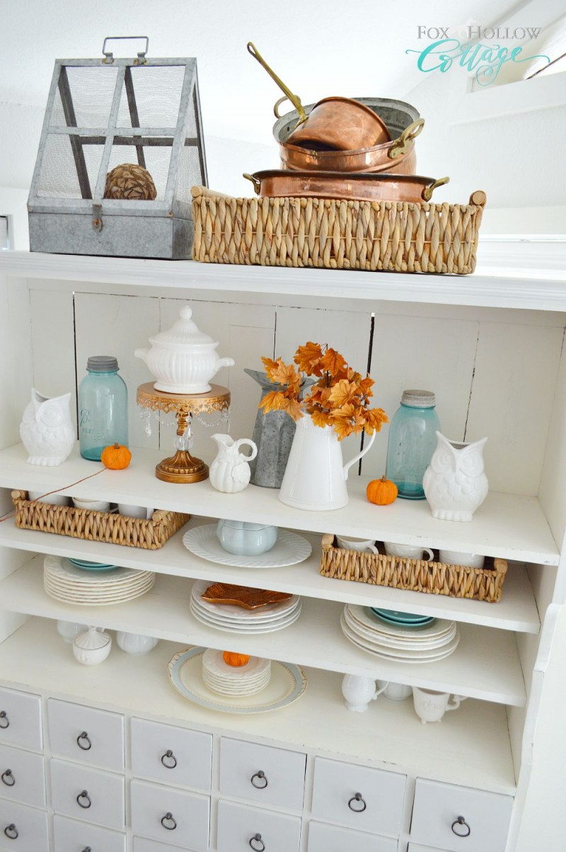 Fox Hollow Cottage Autumn Apothecary Open Shelf Decorating Home Decor Ideas - foxhollowcottage.com