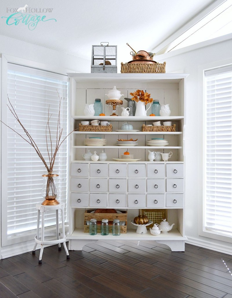 Fox Hollow Cottage fall apothecary cabinet in white wood copper and aqua