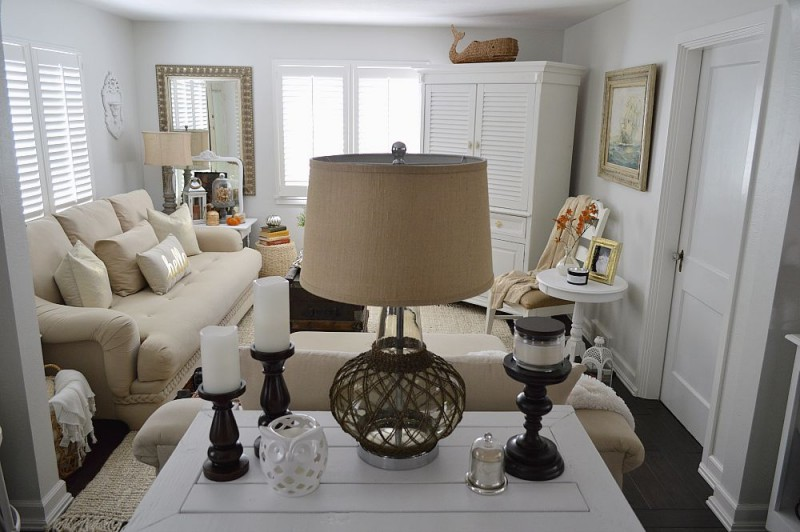 Fox Hollow Cottage - Fall 2015 Autumn Home, Living Room in whites & neutrals.