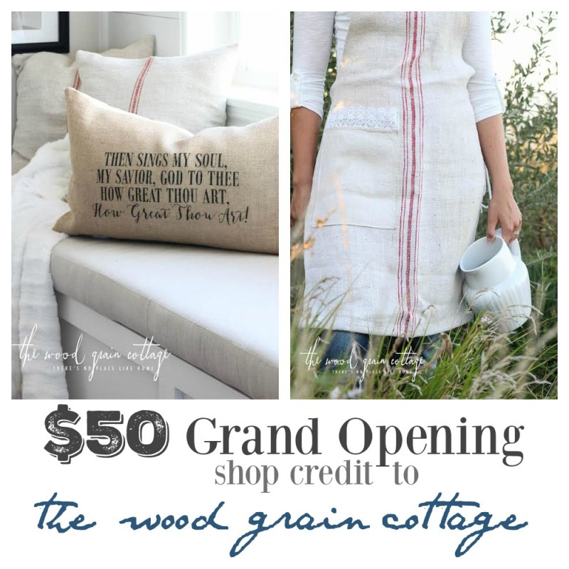 $50 grand opening shop credit wood grain cottage