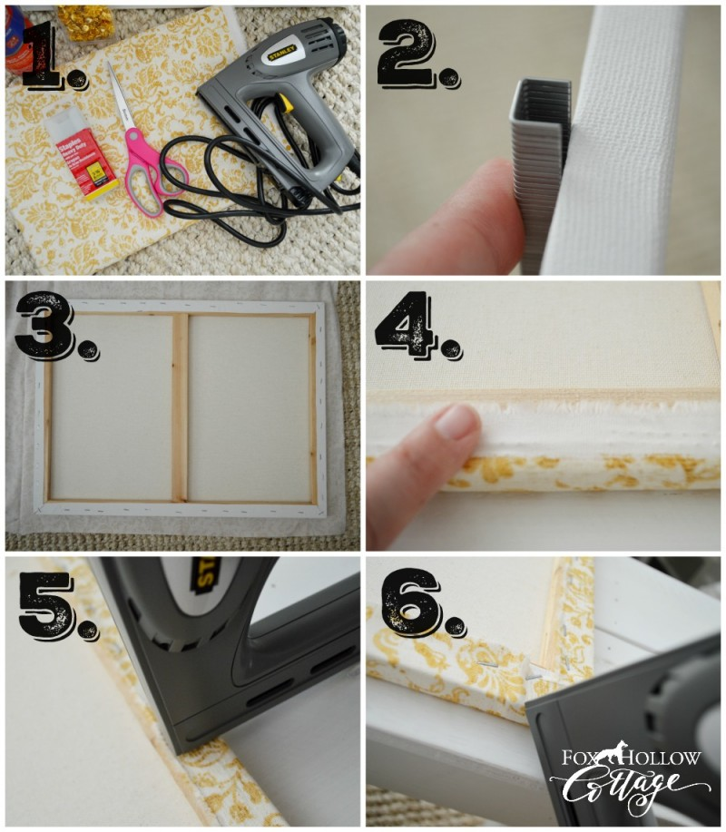 How To Make a Fabric Covered Decorating Backdrop | Fall decorating at foxhollowcottage.com with | DIY HOME DECOR - How to make a fabric covered space filler for decorating. Great for layering in front of and adding texture to large, open spaces like mantels and open shelves.