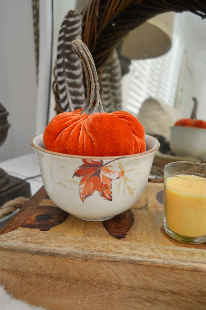 Autumn with Better Homes and Gardens. Fall home decorating with velvet pumpkins and @bhglivebetter harvest dishes. in cream mist | #sponsored by @bhg