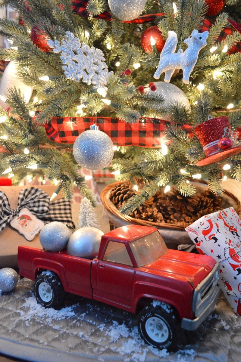 Classic Christmas in Red with Vintage Toy Truck Under The Tree