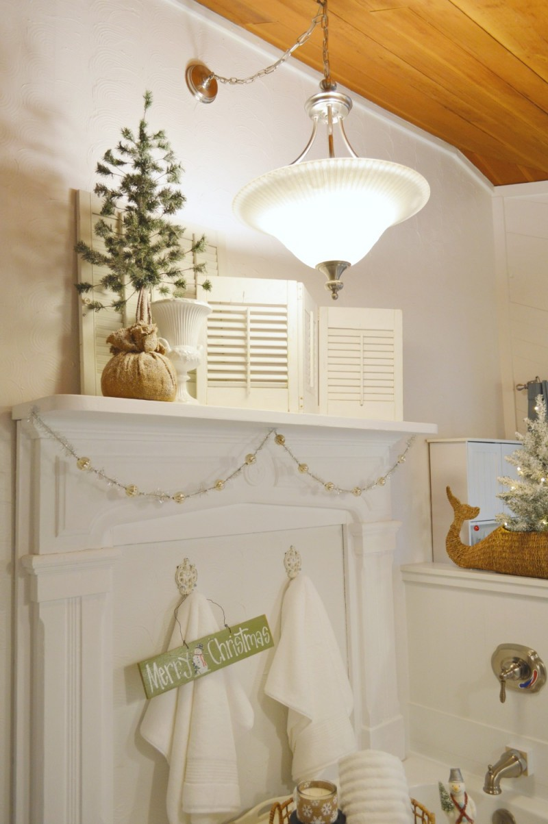 Cottage Bathroom with Vintage Fireplace Mantel at Christmas