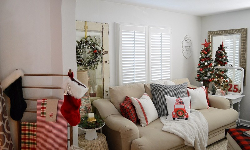 Cottage Christmas Home Tour with Country Living - Living Room in Traditional Christmas Red