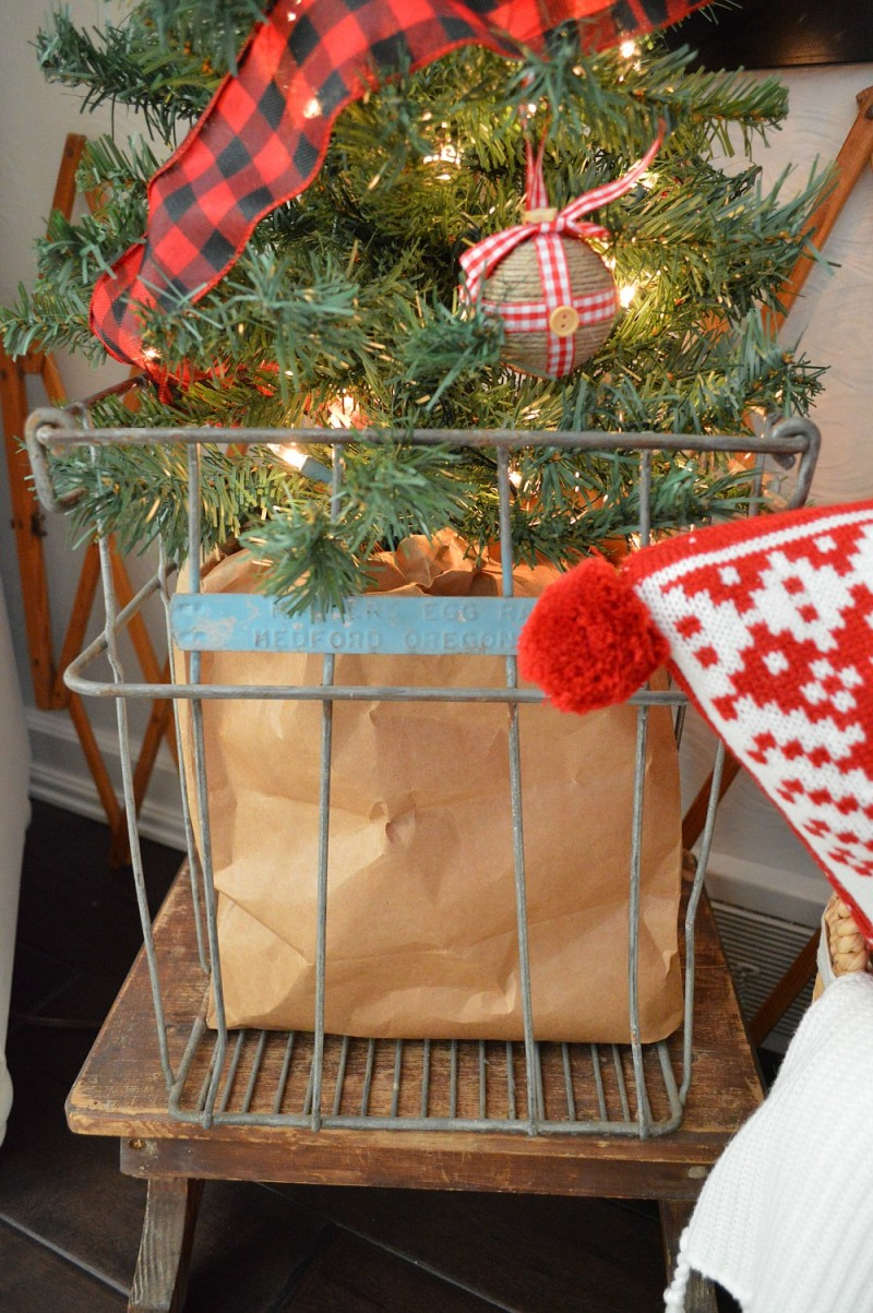 Cottage Christmas Home Tour with Country Living - Vintage Egg Crate and Step Stool