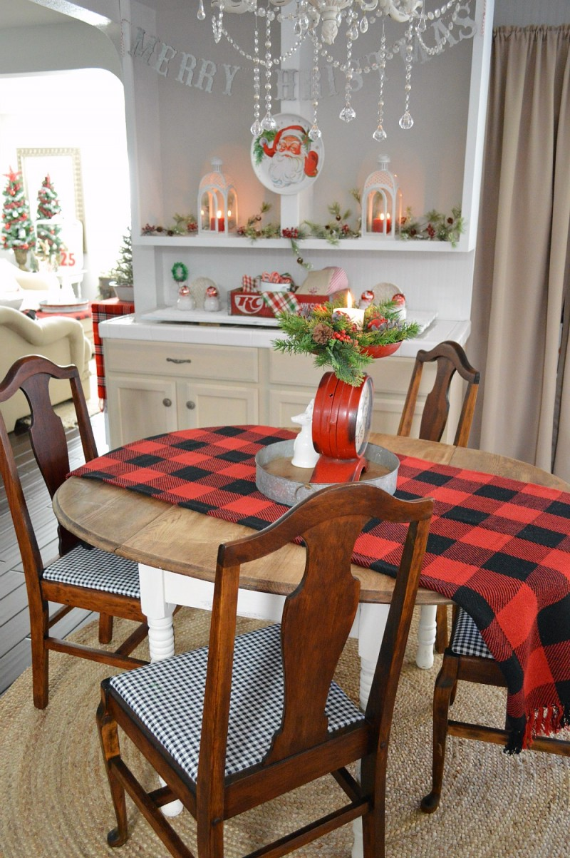 Cottage Kitchen at Christmas - Country Living Holiday Home Tour - Vintage Plaid Mix Decorating in Red