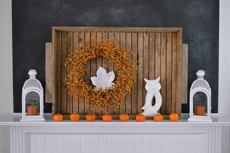 Cottage mantel at Thanksgiving with tiny Pumpkins, vintage wood tray, chalkboard wall and Better Homes and Gardens white lanterns. #sponsored @bhglivebetter @bhg