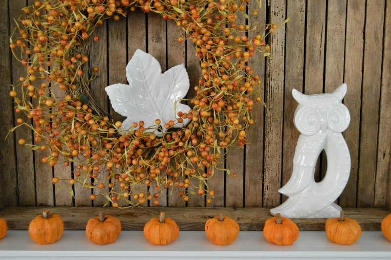 Pretty Autumn mantel, Thanksgiving at the cottage with tiny Pumpkins, vintage wood tray, wreath, white ceramic Owl and leaf dish. #sponsored by Better Homes and Gardens | @bhglivebetter @bhg