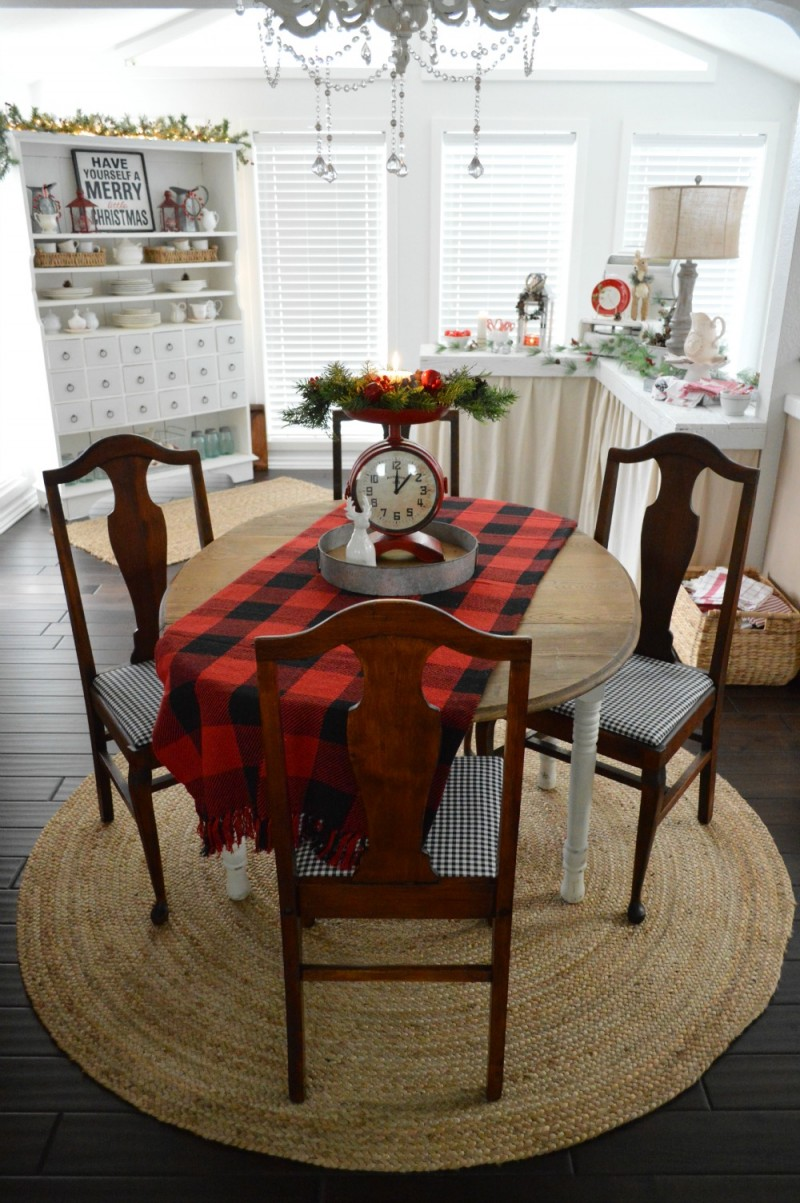 Country Living Holiday Home Tour - Vintage Drop Leaf Farm Table Natural Braided Jute Rug Red Kitchen Scale Clock - Cottage Christmas at foxhollowcottage.com