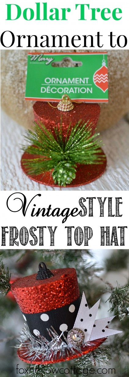 DIY-a-Dollar-Tree-Ornament-into-a-Frosty-Top-Hat-for-the-Christmas-Tree-foxhollowcottage-422x1230