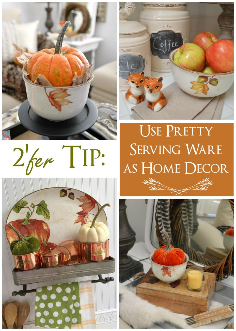 Dual Decorating Tip - Use pretty dining and serving ware pieces as decor - See more at foxhollowcottage.com | #sponsored by Better Homes and Gardens @bhglivebetter @bhg