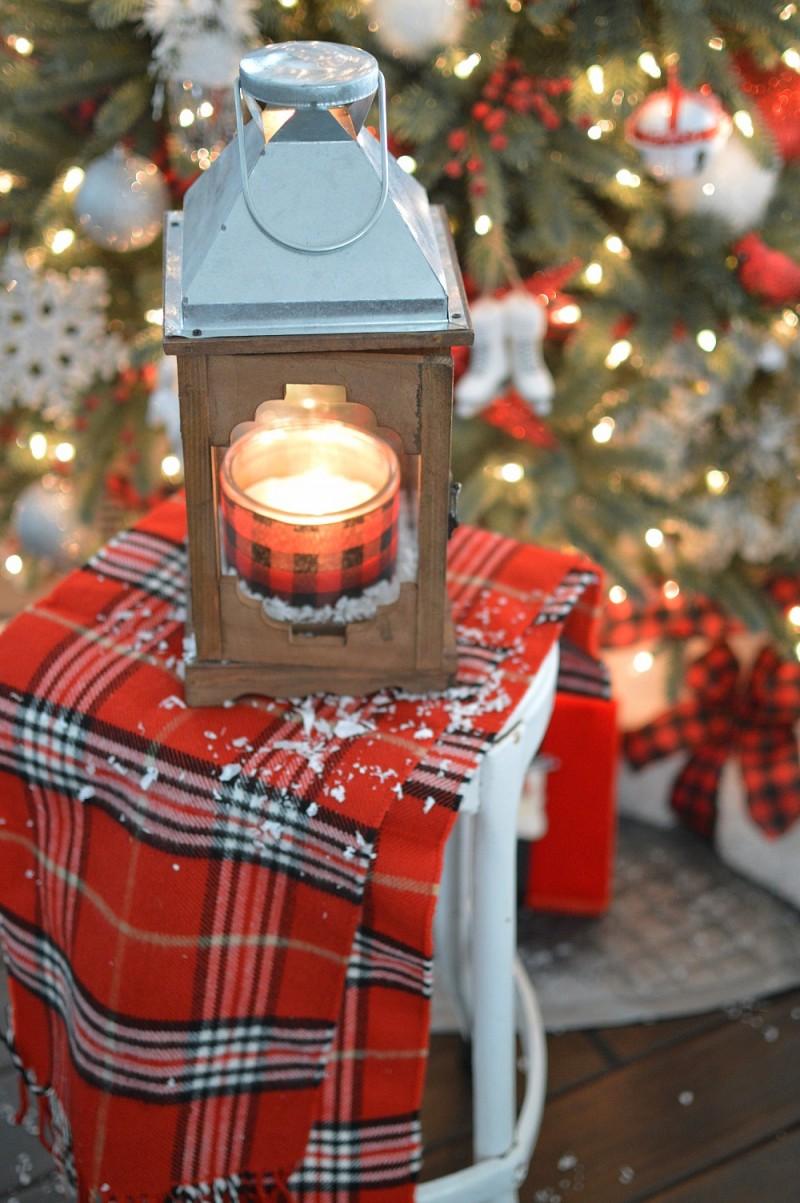 Fox Hollow Cottage Christmas Home Tour - Rustic Lantern, Red White Black Buffalo Plaid Christmas Tree