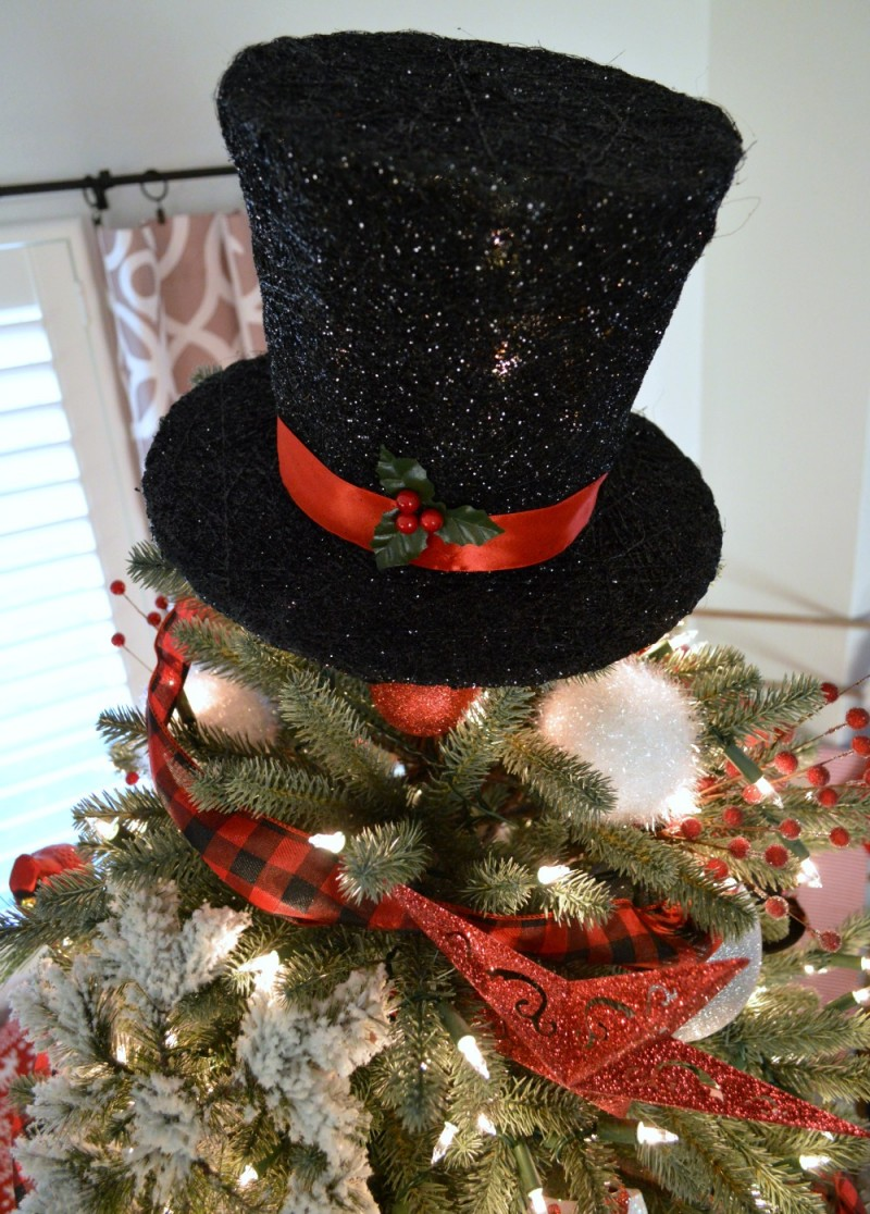 Frosty The Snowman Black Top Hat Christmas Tree Topper
